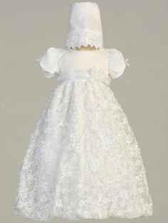 lds blessing gowns for girls | ... gown dress white embroidered satin ribbon tulle christening gown dress