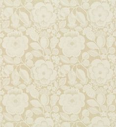 Verena (130345) - Harlequin Fabrics - An opulent classical damask weave with round flower and berry details. Shown in the Cream and Linen colourway. Please request sample for true colour match.