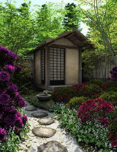 #Japanese Gardens - beautiful pathway to a summer house... http://www.whitepetalsandpearls.com