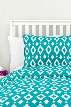 Dormify Teal Ikat Duvet. So bright and cute! << eep ! this is perfect for my tiffany blue room ! :D