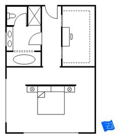 Master bedroom floor plan - make the tub a walk in shower & turn the shower into linen closet.
