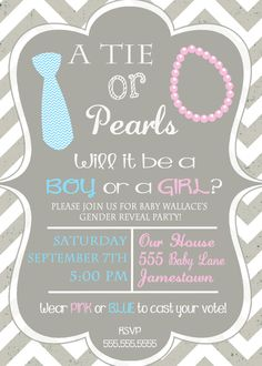 Not sure if I'm into the whole gender reveal party thing but this is cute. Ties and Pearls Gender Reveal Party Invitation Chevron by DaxyLuu, $13.00
