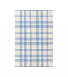 Dash & Albert Tattersall Blue Cream Woven Cotton Rug