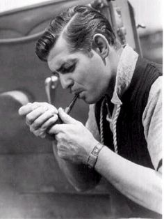 Clark Gable in this shot from 1936. #Clark_Gable #men #actors #vintage #pipe #Hollywood #movies #handsome