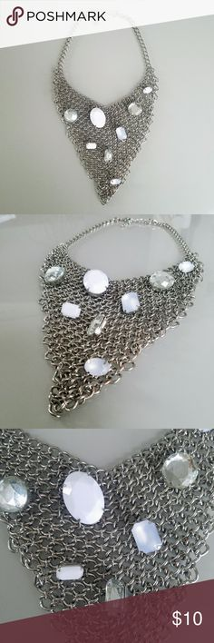 Silver Chain Mail Embellished Bib Necklace Silver Chain Mail Bib Necklace   Embellished with white and clear gems  Approximately 22 inches end to end unknown Jewelry Necklaces