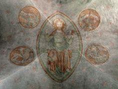Saint Michael Church in Veringendorf (district of Veringenstadt, Baden-Württemberg, Germany), vault of the choir: fresco of Christ in Majesty (Majestas Domini), Christ together with the symbols of the four evangelists. Gluitz (Dorf und Stadt Veringen, 2. ed. 1985, p. 17) dates the fresos in the choir to 1330 ca., but Kadauke (Wandmalerei der Gothik im südöstlichen Baden-Württemberg, Reutlingen 1991, p. 56) to 1320 ca.