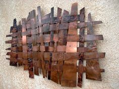 The Wave Woven Copper Art004 by copperandglass on Etsy, $325.00