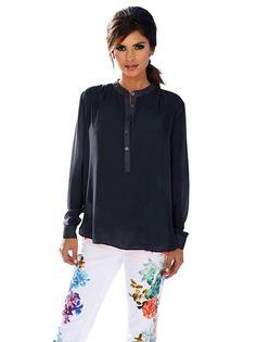 5f6d3a2403 Dolga Bluza ASHLEY BROOKE BY HEINE #blouse #dark_blue #sheer #ladies_fashion
