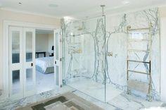 Dekton slabs on shower wall. Beautiful!
