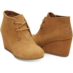 Brown Sugar Suede Corduroy Women's Desert Wedges ❤ liked on Polyvore featuring shoes, suede leather shoes, brown suede shoes, wedge heel shoes, suede shoes and wedges shoes