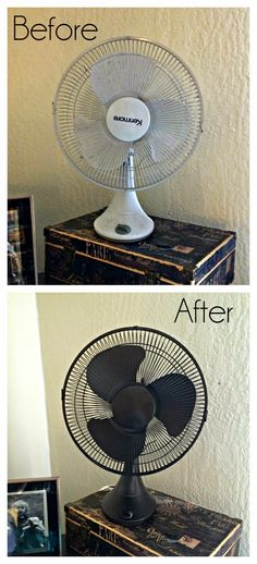 Table Fan Makeover, Spray Painted Fan.
