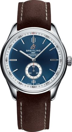 Breitling Watch Premier Automatic 40 Brown Nubuck Tang Watch available to buy online from with free UK delivery. Stylish Watches, Luxury Watches, Cool Watches, Watches For Men, Breitling Navitimer, Breitling Watches, Gentleman, Army Watches, Brown Leather Watch