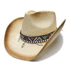 HXGAZXJQ Women Men Straw Western Cowboy Hat with Bohemia Handmade Weave Lady  Dad Sombrero Hombre Cowgirl ee0f9793588a