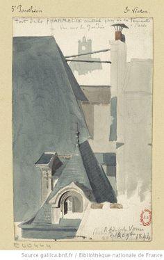 Toit de la pharmacie centrale quai de la Tournelle  Adolphe Varin, 1844