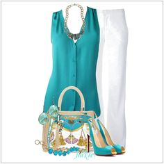 "CHATA'S DAILY TIP: Nothing says ""trez elegant"" more than a pair of white linen pants; this outfit will leave you cool and relaxed on a sizzling summer day. The co-ordinating turquoise shoes can be replaced with nude shoes, repeating the colour from the handbag. COPY CREDIT: Chata Romano Image Consultant Maryna Allmann http://chataromano.com/consultant/maryna-allmann/ IMAGE CREDIT: Fashion's Facebook page"