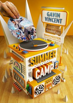Summer Camp poster design for the infamous UK dance company. Design 3d, Graphic Design, Cinema 4d, Paper Structure, 3d Poster, Music Machine, Displays, Modelos 3d, 3d Fantasy