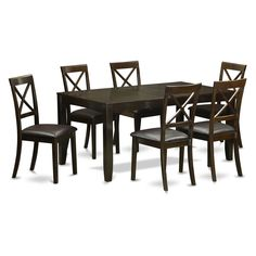 East West Furniture Lynfield 7 Piece Extension Dining Table Set with Boston Chairs - LYBO7-CAP-C
