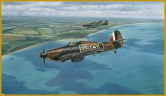 The Chase Two Hawker Hurricane of 229 Squadron RAF pursue an to the French coast during the Battle of Britain. Ww2 Aircraft, Fighter Aircraft, Military Aircraft, The Spitfires, Hawker Hurricane, Aircraft Painting, Airplane Art, Desert Camo, Thing 1