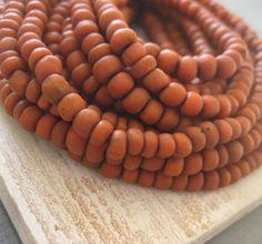 small  dark burned rustic orange glass Beads Modern by yukidesigns, $6.95