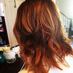 Golden copper ombre on medium hair. Curled with flat iron and sprayed with Redken's wool shake for texture  Hair by Ginnette Minarik-- san jose,ca
