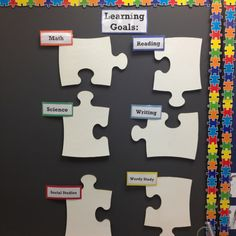 Could recreate w laminated paper. Put a long narrow piece at top saying TSWBAT to save space on each subject piece. Diy Classroom Decorations, Classroom Displays, Classroom Organization, Classroom Management, Objective Bulletin Board, Bulletin Boards, Learning Targets, Learning Goals, 4th Grade Ela