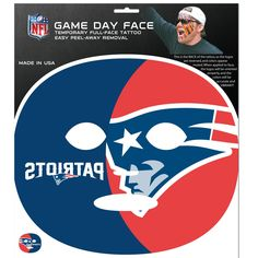 New England Patriots Game Face Temporary Tattoo