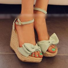 77Queen Bow-Accent Wedge Sandals $43.20 #YesStyle