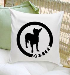 """Our """"Circle of Love"""" silhouette personalized throw pillow is a perfect gift for dog lovers.  Customize the breed of choice image for that extra personal touch!  Then personalize it with your pet's name of 1 line up to 10 characters.  Our throw pillows come with a cotton zip-off cover for easy washing.  Pillow Measures: 16 x 16  ( comes with 16 x 16 insert )"""