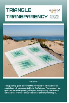 "TRIANGLE TRANSPARENCY modern quilt pattern -by Yvonne Fuchs of Quilting JetGirl lap size square quilt 60"" x 60"" - coloring page included"