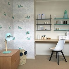 Adorable girl's room with Daydream (Green) removable tiles. Via Little Liberty interior designers.