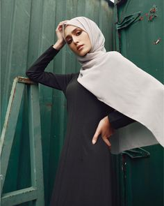 INAYAH | Be confident, be empowered.  Dark Khaki Tailored Maxi Dress with Flare  Nude Peach Skin Hijab  www.inayah.co