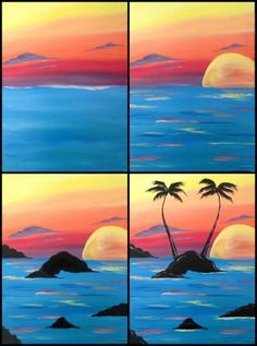 """Evolution of """"Sunset Palms""""-painted at Painting with a Twist Miami by Linda McKay Forth Lamont Easy Canvas Painting, Diy Painting, Painting & Drawing, Canvas Art, Acrylic Painting Tutorials, Painting Lessons, Painting Techniques, Art Lessons, Wine And Canvas"""