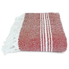 Salbakos Turkish Peshtemal Fouta Towel - White/Burgundy