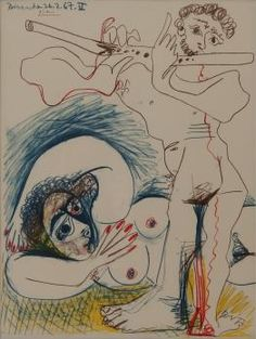 Pablo PICASSO Joueur de flûte et modèle, 1968 Photo-lithographie (atelier Mourlot) Signée dans la planche Édition limitée à 2000 exemplaires non numérotés 35 x 46 cm à vue Présentée dans un cadre baguette bleue avec passe-partout