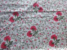 Vintage Laura Ashley Cotton Interiors Fabric 'Dianthus' per Metre x wide Karim Rashid, Red S, Red And White, Laura Ashley Fabric, Design Studio, Design Design, Chain Stitch, Fabric Design, 1980s