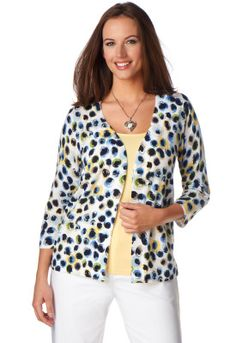 Dot cardigan with white pants