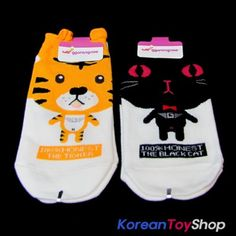 Korean-Style-Womens-Casual-Ankle-Socks-2-Pairs-Tiger-Cat-Made-in-Korea