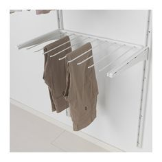 IKEA - ALGOT, Pants hanger, white, Just click in on ALGOT brackets – no tools needed. The pants hanger has 9 bars. To be used between 2 ALGOT brackets deep), sold separately. Ikea Algot, Master Closet, Closet Bedroom, Closet Space, Walk In Closet, Ikea Bedroom, Boutique Interior, Trouser Hangers, Closet Layout