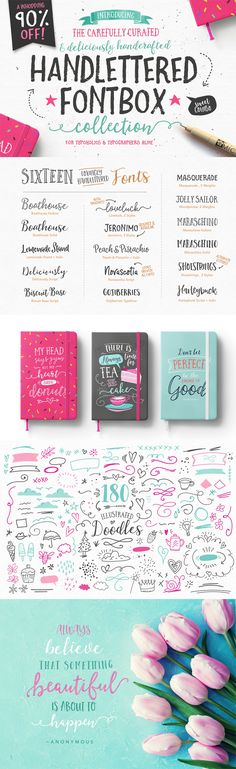 Handlettered fonts, calligraphy fonts, wedding fonts, logos, branding, brush script, feminine, typography
