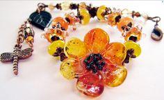 MAY SALE Brown Eyed Susan Lampwork Bracelet by BelladonnasJoy