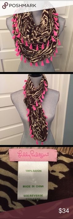"Lilly Pulitzer Riley Infinity scarf, animal print Adorable scarf from Lilly Pulitzer.  Brazilian brown entourage w/pink fringe.  ""Riley"" style.  So many ways to wear! Lilly Pulitzer Accessories Scarves & Wraps"