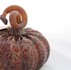sculptured pumpkins | Glass Pumpkin - Large Earthy Crackle Hand Blown Glass - Natural Stem ...