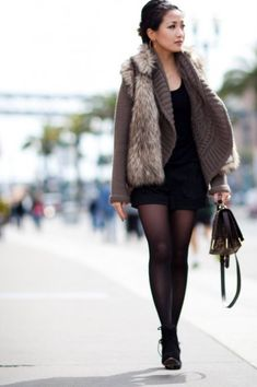 Layering for a cold day, faux fur vest, chunky cardigan f21, Armani Exchange wool shorts, Azzedine Alaia sculpted suede wedges