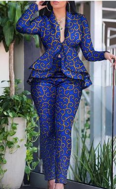 African women jacket and pant/ African print jacket and pant/ Ankara jacket / african clothing for women / Ankara clothing/African dress African Party Dresses, Latest African Fashion Dresses, African Dresses For Women, African Print Dresses, African Print Fashion, African Attire, Fashion Prints, African Print Clothing, Ankara Fashion