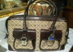 Dooney & Bourke signature canvas and leather trim satchel handbag  #DooneyBourke #TotesShoppers