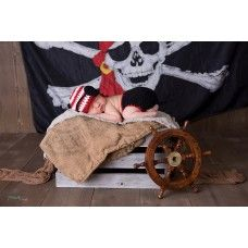 Pirate baby newborn set,Pirate crochet outfit, Baby diaper cover and hat set