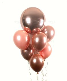 ROSE GOLD Balloon Bouquet - One Rose Gold Metallic Orbz Balloon plus 6 Custom Colored Rose Gold Latex Balloons - Metallic Rose Gold Balloons Polka Dot Balloons, Rose Gold Balloons, Latex Balloons, Glitter Balloons, Glitter Gif, 40th Birthday Parties, Gold Birthday, Birthday Ideas, Balloon Decorations Party