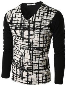 Doublju Men's Plaid Long Sleeve T-Shirt (CMTTL08) #doublju