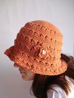 Brick color Hat For Women Crochet Hat Fashion gift for by bypasha 434e1ac670f3