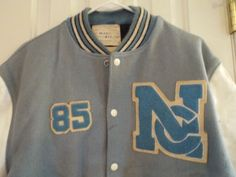 Baby Blue and White Vintage Classic Letterman Jacket Size 46 85 Rough Eagle | eBay